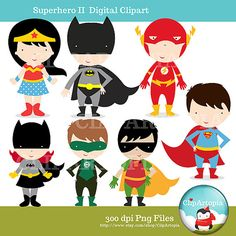 Superheroes Digital Clipart por ClipArtopia en Etsy, $5.00