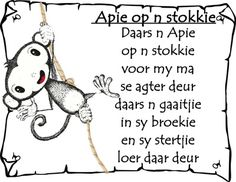 Afrikaans - apie op n stokkie Preschool Songs, Classroom Activities, Animals Name In English, Afrikaans Language, Classroom Expectations, Kids Poems, Children Songs, African Children, Thing 1