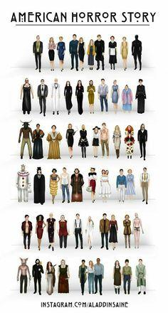 unos de los caracteres de cada capitulo de american horror story.