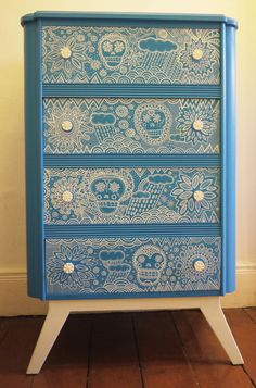 Mexican Skull Inspired Chest of Drawers by HandsomeVintage on Etsy, £500.00