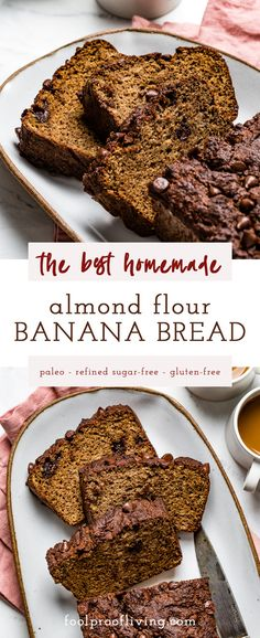 The Best Almond Flour Banana Bread recipe. Perfectly moist, naturally-sweetened, easy to make, low-carb, paleo-friendly, dairy-free, and gluten-free. #almondflour #bread #quickbread #glutenfreebread #foolproofliving #healthybaking #recipe Banana Bread Almond Flour, Paleo Banana Bread, Almond Flour Recipes, Gluten Free Banana, Banana Bread Recipes, Healthy Bread Recipes, Tart Recipes, Best Dessert Recipes, Fun Desserts