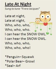 "Night"" song with polar animals. My preschool class LOVES it! ""Late At Night"" song with polar animals. My preschool class LOVES it!,""Late At Night"" song with polar animals. My preschool class LOVES it!, list poetry for kids Preschool Poems, Preschool Music, Preschool Class, Preschool Activities, Winter Songs For Preschool, Polar Animals Preschool Crafts, January Preschool Themes, Kindergarten Music, Animal Activities"