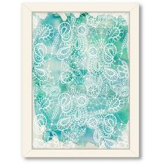 Americanflat Urban Road Lace Framed Wall Art (Blue) (103 985 LBP) ❤ liked on Polyvore