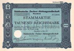 Süddeutsche Zucker-AG / Aktie 1.000 RM März 1927 (Auflage 3000, R 1).