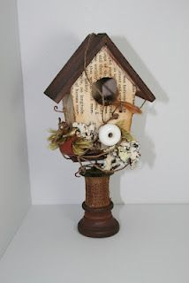 Bird house on old spools