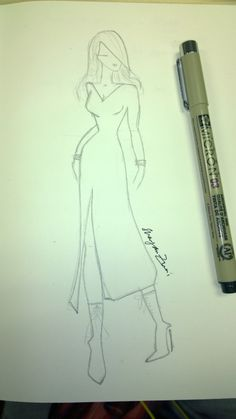 Loving the sexy high slit on this dress. #fashionsketch #illustration #pencilsketch