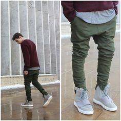 Adidas Yeezy 750 Boost, I Love Ugly Zespy Pant, John Elliott Curve U Neck Tee, Maison Martin Margiela Maroon Sweater