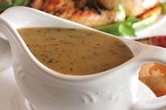 """Turkey Gravy: """"This was actually the first time I didn't end up with lumpy gravy at Thanksgiving! This recipe is foolproof. The key is to slowly pour the broth in while constantly whisking. I even used gluten-free flour and it came out wonderfully."""" -Delicious as it Looks #UltimateThanksgiving"""