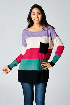 Stardust Colorblock Pocket Sweater by Love Stitch – Blue Layne Boutique  Pink, purple, ivory, teal, and black $55 always free shipping!! www.bluelayneboutique.com