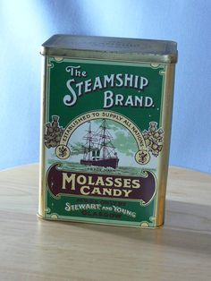 Steamship Brand  Molasses Candy  Tin Can  MG044 by MasterGreig,