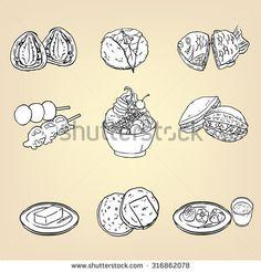 Doodle drawing of Japanese traditional cuisine dessert food of Strawberry Daifuku, Dango, Anmitsu parfait, Sakura mochi, Taiyaki, Dorayaki, Wagashi, Yokan, and Senbei sweet icon collection set, vector