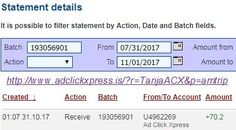 Here is my #34 Withdrawal Proof from Ad Click Xpress.  Get out of debt by doing something fun for a change! Ad Click Xpress is the top choice for passive income seekers. Making my daily earnings is fun, and makes it a very profitable! I am getting paid daily at ACX Tripler and here is proof of my latest withdrawal. This is not a scam and I love making money online with Ad Click Xpress. Join for FREE and get 10$ for Tripler value packs from ACX . Make 4% Per Day - Easy!