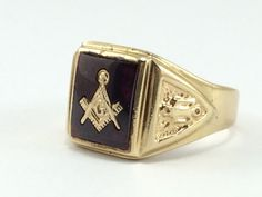Masonic Signet Ring  Square and Compasses  by EstateJewelryMama