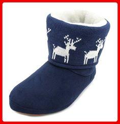 Slumberzzz Hausschuhe für Damen, mit LED-Blinklicht Bootie-Hausschuhe, Blau - Blue Reindeer - Größe: 37.5 - Hausschuhe für frauen (*Partner-Link)