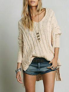 Apricot High Low Split Sweater 25.99