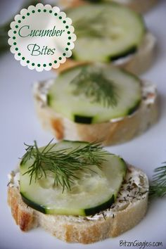 Cucumber Bites - Simple, quick and fresh appetizers perfect for a spring or summer party! {BitznGiggles.com}