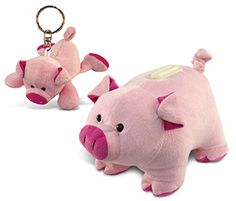 Puzzled Pig Plush Keychain and Bank – Animals Theme – Set of 2 – Unique and Useful Gift and Souvenir – Item #K5836-5936 – Friendly Faces