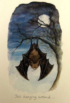 """Just Hanging Around"" vintage bat Halloween card"