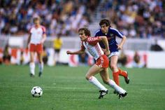 France 1 Denmark 0 in 1984 in Paris. Allan Simonsen comes forward with the ball for Denmark in Group A at Euro '84.