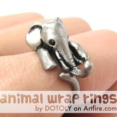 Realistic Elephant Animal Ring for Men and Women Silver Sizes 4 to 15 $10 #elephant #animals #jewelry #ring #cute