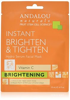 Andalou Naturals Instant Brighten  Tighten Hydro Serum Facial Mask 06 Fluid Ounce *** For more information, visit image link.(This is an Amazon affiliate link and I receive a commission for the sales)