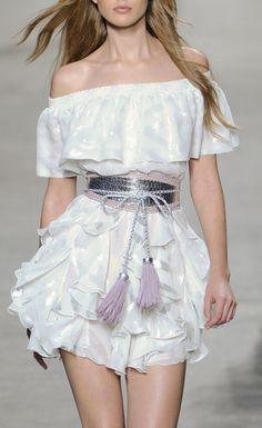 off the shoulder dress and tassel belt / Paul + Joe