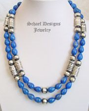 Schaef Designs Lapis & Sterling Silver Tube & Bench Bead Southwestern Necklaces| All Rights Reserved Schaef Designs Copyright | Schaef Designs artisan handcrafted Jewelry | New Mexico