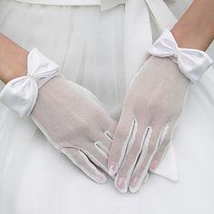 tulle gants poignets longueur de mariée avec l'arc – BRL R$ 12,18
