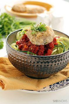Cauliflower feta meatballs and spicy harissa tomato zucchini noodles recipe