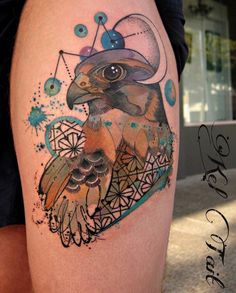 Kel Tait watercolor hawk tattoo