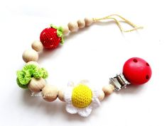 Strawberry Pacifier Clip with flower Crochet by EvelinJewelry