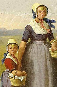Meisjes in zondags kostuum met voorhoofdsnaald. Detail van schilderij door C. Kimmel (Zeeuws Museum-collectie KZGW)
