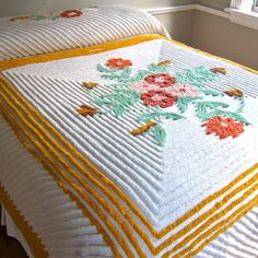 Vintage Chenille Bedspread with Flowers and by BarkingSandsVintage, $175.00