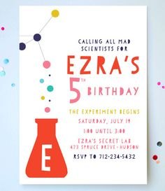 science party invitations hand crafted invites fully personalised with all the details of your next science party rolled up and delivered in in - Science Party Invitations