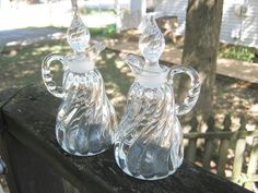 Oil And Vingegar Cruets, Two Matching, Swirl Design, Pointed Glass Stoppers, Clear Glass, Kitchen Serving Set, Salad Dressing Cruets by Junkblossoms on Etsy