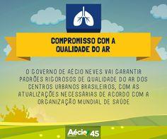 O governo de Aécio Neves vai garantir padrões rigorosos de qualidade do ar dos centros urbanos brasileiros, com as atualizações necessárias de acordo com a Organização Mundial de Saúde.