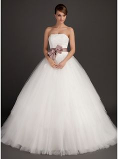 Ball-Gown Strapless Sweep Train Tulle Wedding Dress With Sash Appliques Lace Bow(s)  http://www.jjshouse.com/Cheap-Wedding-Dresses-c2/Ball-Gown_p1i3/