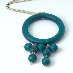 Aarikka wood and silver plated pendant necklace by KoruJewelleryCo on Etsy Long Pendant Necklace, Beaded Necklace, Necklaces, Wooden Jewelry, Silver Jewelry, Deep Teal, Vintage Wood, Silver Plate, Turquoise Necklace