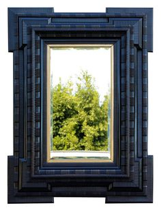 great Antique Flemish mirror in 19th century ebony and gilt wood- Fab!