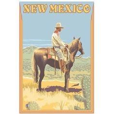 Cowboy (Side View) - New Mexico: Retro Travel Poster by Eazl Canvas Poster, Size: 24 x 36, Multicolor