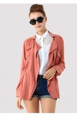 #ChicWish  Peach Double Pockets Coat