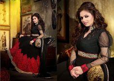Nallu Collection Amazing Black And Maroon Anarkali Suit