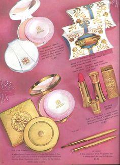 Avon Representative catalog Campaign (C)16-1958, page 13, I love the lipstick cases and the metal compacts.
