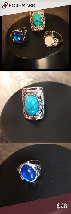 Statement Style HP VINTAGE Ring Bundle Trendy silver plated, turquoise and opal ring bundle! Jewelry Rings