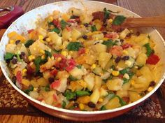 Here's a Wonderful Vegan meal idea! Cubed Potatoes, Yellow Peppers, Onions and Garlic sauteed with small amount Vegetable Broth. Add Turmeric and Onion Powder while sauteing. Once the potatoes were tender we added Corn, Black Beans, Fire Roasted Tomatoes and Chopped Spinach. Heat until all ingredients are warm and serve. Served with Salsa and Hot Sauce. So incredibly good! We had it for Breakfast but it would be good for Lunch or Dinner too! Hope you enjoy it!