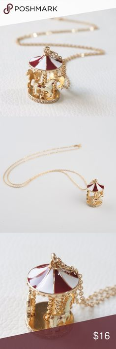 """Carousel Merry-go-round Gold Red White Necklace The carousel pendant features three horses and a rhinestone base.   The dimensions of the pendant are approx. 40mm x 25mm (1.5"""" x 0.9"""").  The long necklace chain measures 30"""" (78 cm), including a 3"""" (7.5cm) extender chain. Jewelry Necklaces"""