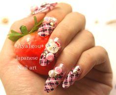3D nails Japanese nail art kitty plaid pink kawaii hime by Aya1gou - I LOVE these!