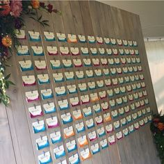 Dip-dyed escort cards in fuchsia, teal and orange displayed on a wooden wall by Cincinnati wedding planner Viva Bella Events wedding planner Rustic Seating Charts, Mirror Seating Chart, Seating Chart Wedding, Dip Dyed, Custom Wall, Wooden Walls, Wedding Designs, Wedding Details, Wedding Planner