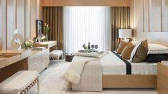 """As arquitetas do escritório Prado Zogbi Tobar criaram um quarto para um casal moderno e elegante.  """"Dentro deste conceito, utilizamos madeira nos móveis e nas paredes para trazer aconchego, tons neutros no papel de parede e tecidos para deixar o ambiente leve para o descanso"""", contam."""