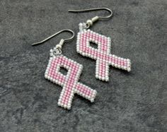 Pink Ribbon Beaded Earrings Breast Cancer Awareness Jewelry
